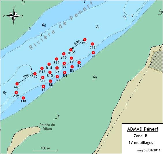 Rivière de Pénerf - mouillages de la Zone B