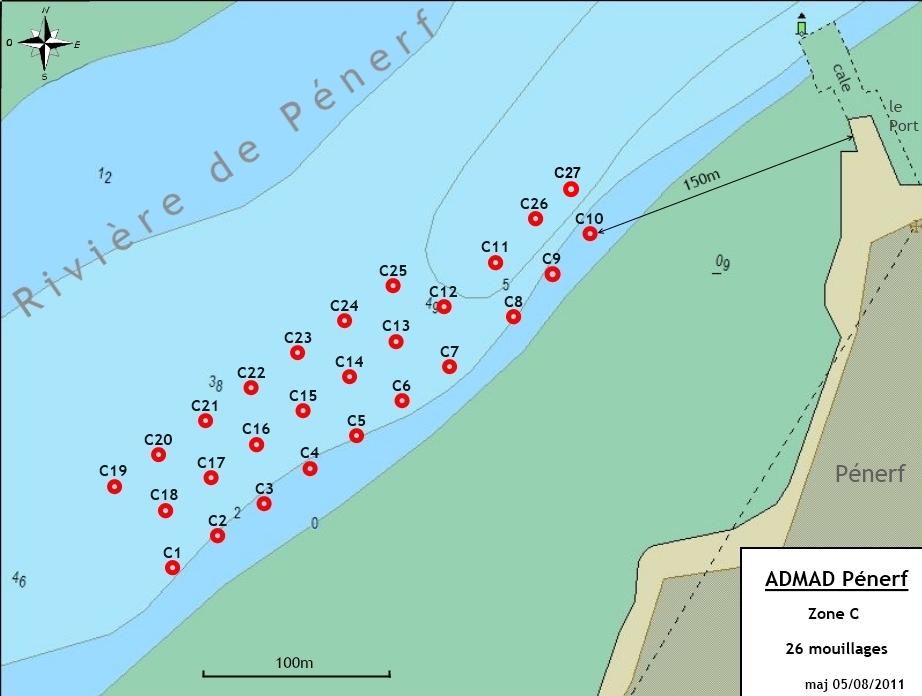 Rivière de Pénerf - mouillages de la Zone C