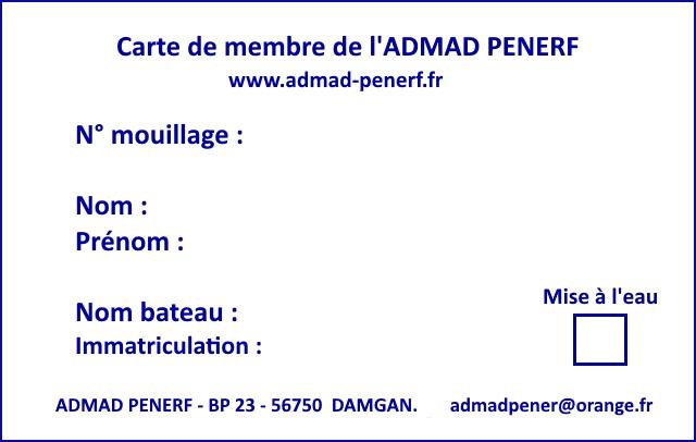 Verso carte adhérent ADMAD